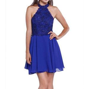 NWT Halter royal lace & sequin short dress size M